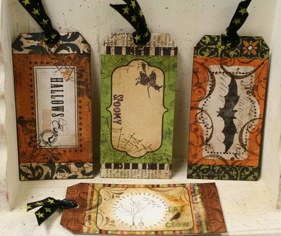 #tags #Halloween patterned paper and stamps