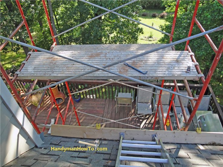 Rotted Soffit and Fascia Board Repair: Scaffold, Ladder and Roof Brackets