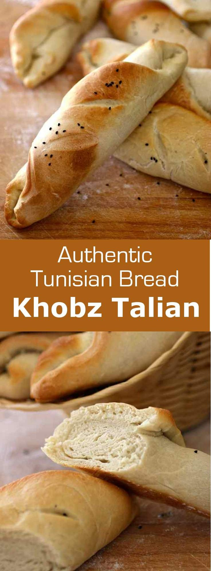 Khobz talian (Italian bread) is a dense and white bread topped with nigella seeds, that was made popular by Italian migrants in Tunisia. #Tunisia…