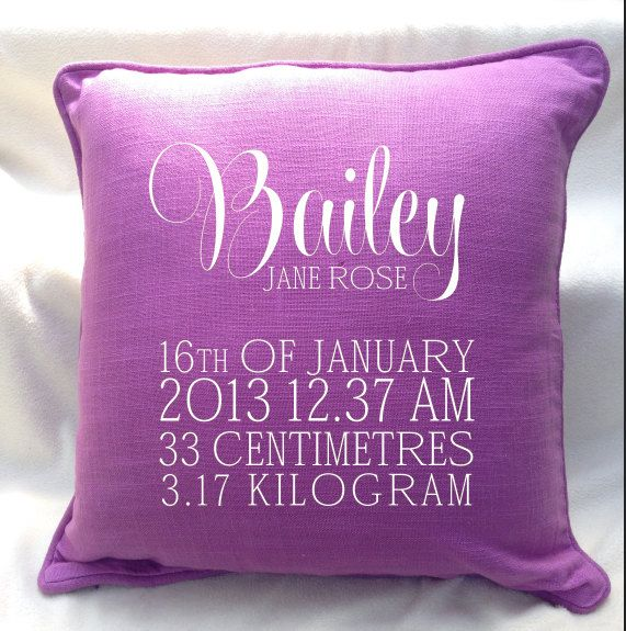 Classy custom BABY GIRL birth announcement pillow for New Borns, the perfect gift for new parents and keepsake. by louiseexclusivelyyou on Etsy