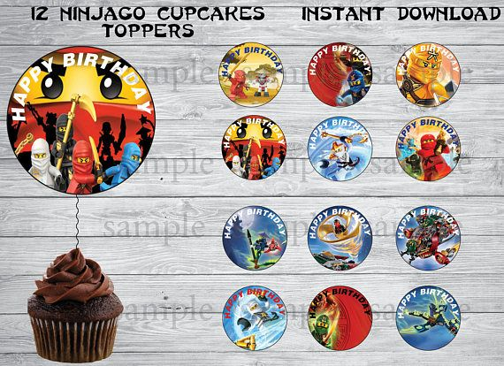 PRINTABLE Ninjago cupcakes toppers - Instant Download ❀ You will receive: ❀ 1 JPEG files with 12 Toppers ❀ Page Size: 8.5x11 inch High resolution JPEG file ❀ INSTANT DOWNLOAD (please check your spam mail) ❀You can print at home or upload to the photo lab of your choice! ❀This