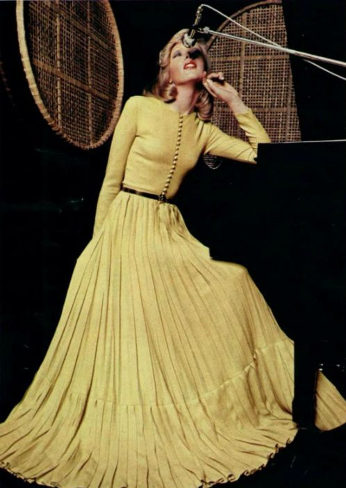 1974 Lanvin vintage fashion color photo print ad models magazine designer retro 70s does 40s style yellow gown full skirt long dress formal button front long sleeves designer  Love the button long sleeve with the maxi skirt