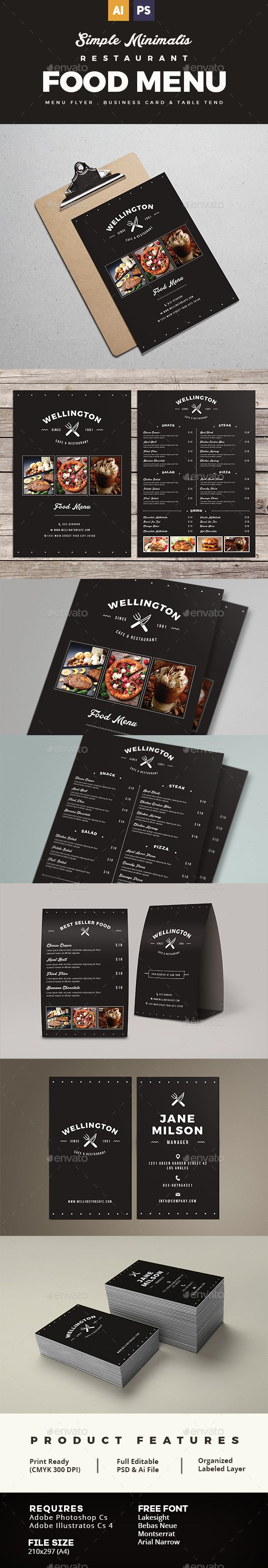 Simple Minimalis Restaurant Food Menu Package - Food Menus Print Templates