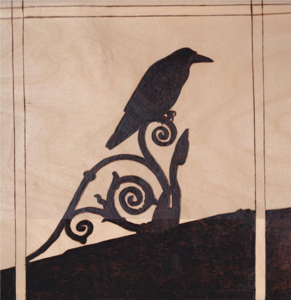 Raven on ironwork burned wood sillouette halloween by shawilson1