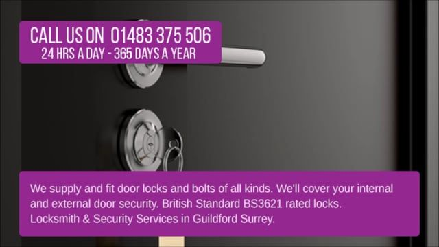 We supply and fit door locks and bolts of all kinds. We'll cover your internal and external door security. British Standard BS3621 rated locks. Locksmith & Security Services in Guildford Surrey. Call us on 01483 375 506.  WE SUPPLY & FIT A WIDE RANGE OF DOOR LOCKS: * Euro Profile Cylinders * uPVC Door Locks * Bluetooth Deadbolt * Nightlatches * Digital Smart Locks * Door Latches * British Standard Locks * Deadbolt Locks * Mortice Locks * Bluetooth Smart Locks * Jimmy Proof Dead ...