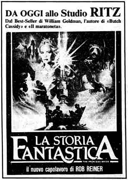 """""""La storia fantastica"""" (The Princess Bride, 1987) di Rob Reiner, con Cary Elwes e Mandy Patinkin. Italian release: April 15, 1988 #MoviePosters #Fantasy"""