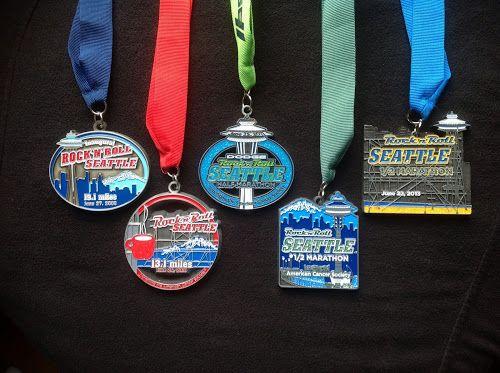 All five Rock 'n' Roll Seattle Half Marathon medals, 2009 - 2013