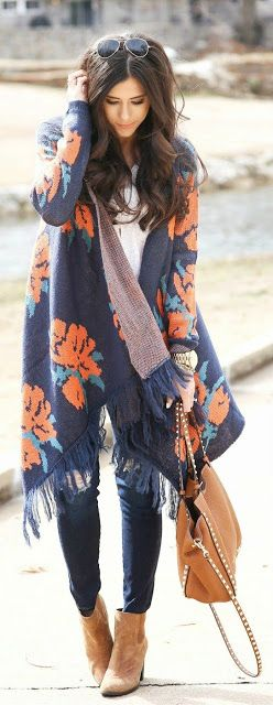 Fall fashion | Fringe floral shawl sweater with denim, studded handbag and camel ankle boots