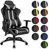 TecTake Chaise fauteuil siège de bureau racing sport ergonomique avec support lombaire et coussin - diverses couleurs au choix - (Gris Noir   No. 402231)