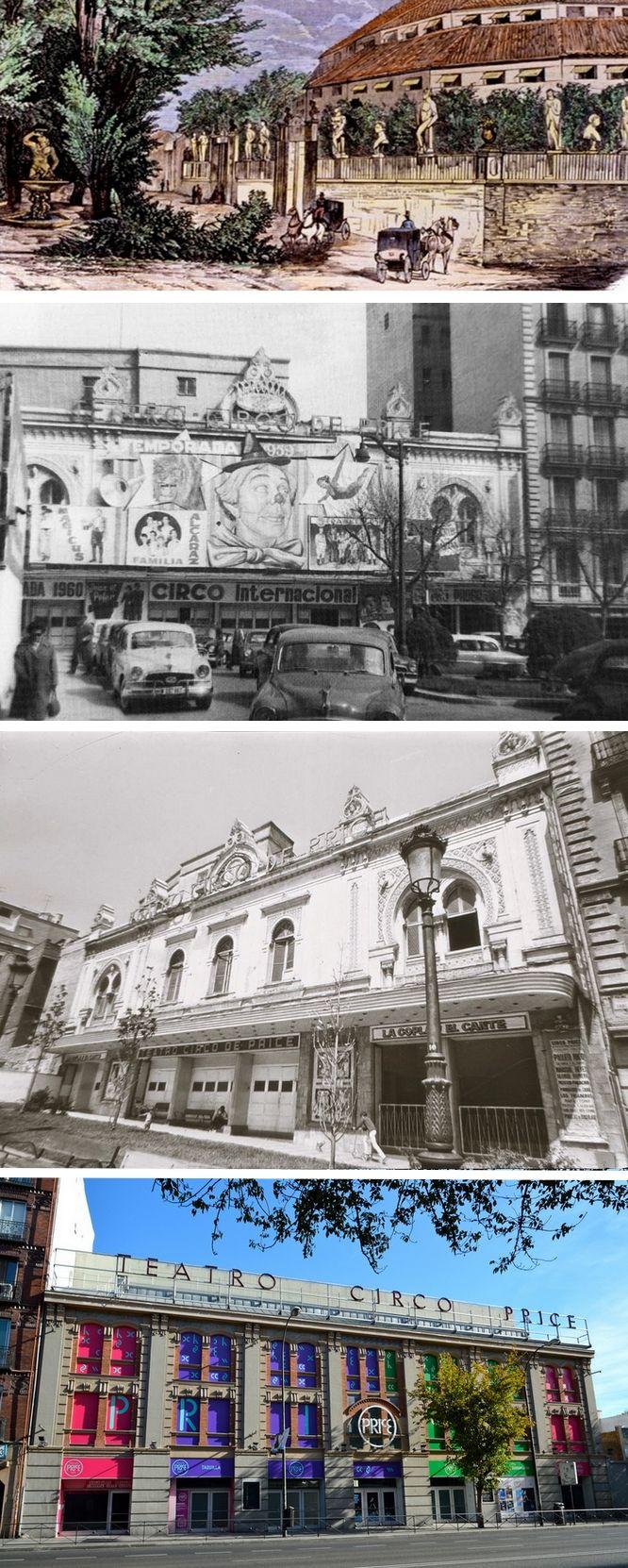 Teatro Circo Price - En el Paseo de Recoletos - En la Plaza del Rey en 196o y poco antes del derribo (1970) - En la Ronda de Atocha en 2015.