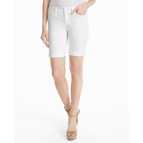 White House Black Market 9-inch White Bermuda Jean Shorts ($69) ❤ liked on Polyvore featuring shorts, short shorts, knee length denim shorts, long jean shorts, denim bermuda shorts and bermuda jean shorts