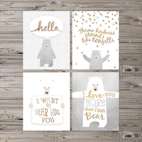 Bear Nursery Wall Art Instant Download Set of 4 by LlamaCreation