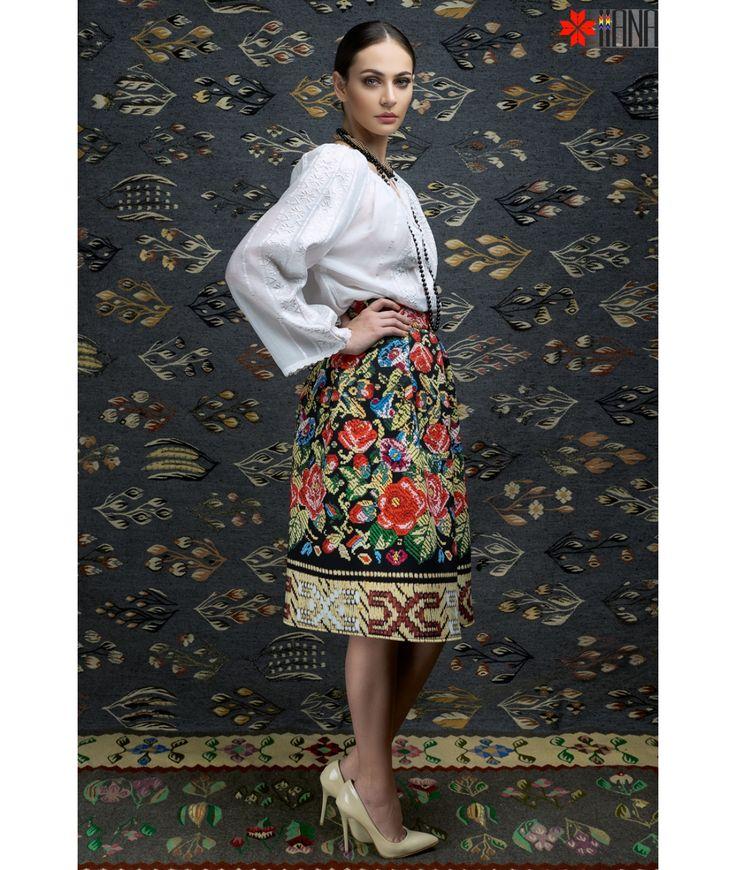 Ie Traditionala Romaneasca Maneca Lunga Motivul Borangic Alb