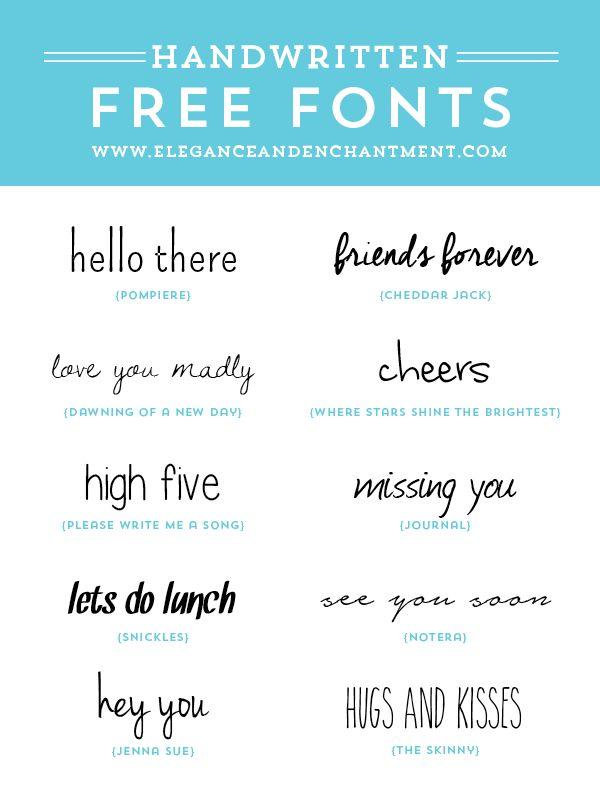 Los amantes de la tipografía se regocijan!  // Fuentes Manuscrito gratuitas para el diseño gráfico, diseño de páginas web, blogs, haciendo a mano, scrapbooking y mucho más!  // Desde la elegancia y encantamiento