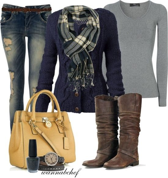 Very cute blue sweater, plaid scarf, denim and yellow  bag!
