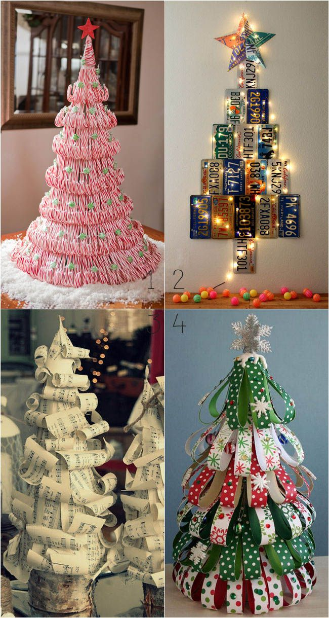 From candy canes, pine cones, to paper and pallets, these great tutorials are must-sees! 38 inspiring alternative Christmas Tree ideas to DIY this holiday! - A Piece of Rainbow