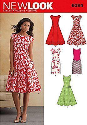 New Look Schnittmuster Nr. 6094 Kleider für Damen, Kleidergrößen 36, 38, 40, 42, 44, 46