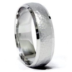 Hammered Wedding Band Mens Ring Brushed Beveled Edge 14k White Gold 7mm Size 7 12 Em Pinterest Rings And
