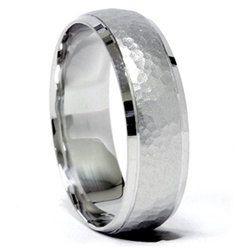 hammered wedding band mens hammered ring mens brushed by pompeii3