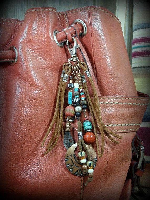 Purse Tassel, Leather Fringe Zipper Pull, Beaded Tassel Clip, Native American,  by StoneWearDesigns