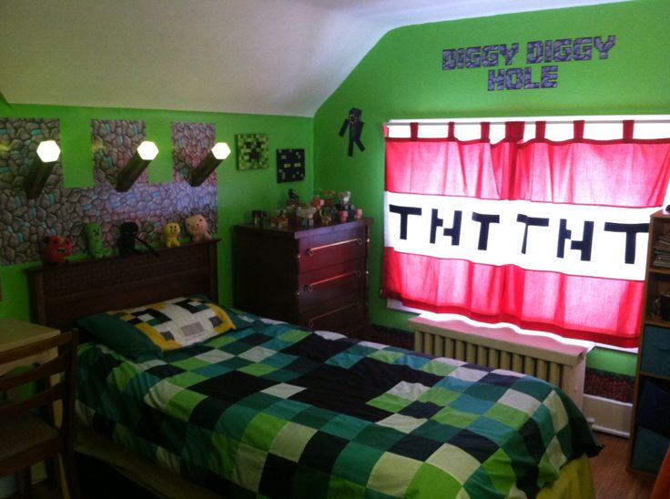 Minecraft Theme. Curtains, Stampy Pillow Case And Creeper Duvet Hand Made  By Iu0027