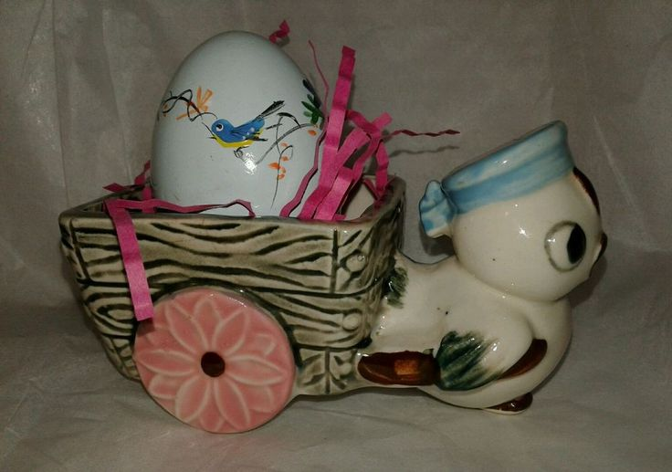 Vintave Small Chick Pulling Wagon Planter Great Easter Egg or Candy Holder Japan