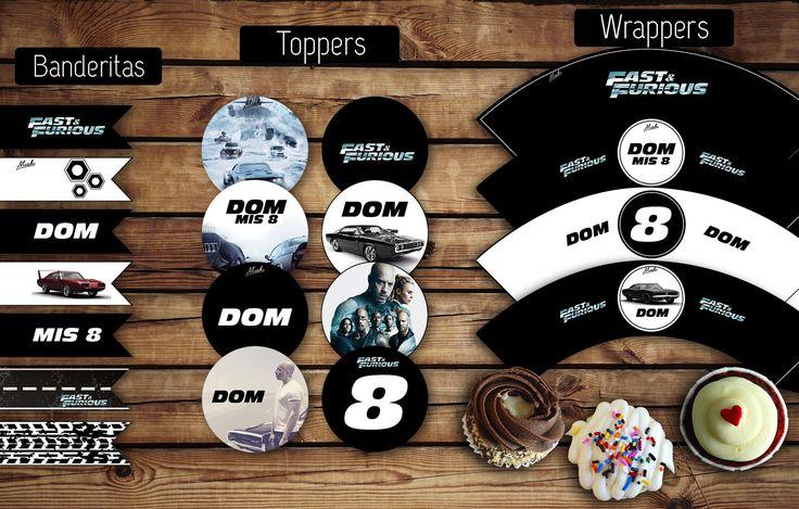 Banderitas para adorno. #Toppers (circulos) para usar con palitos brochette. Etiquetas (#wrappers) para #cupcakes  #Furious  #kit #nene #kitcumple #autos #papa #varon