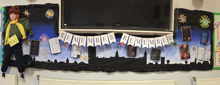 'Remember Remember' Bonfire Night themed display with poems, fireworks and a Guy!