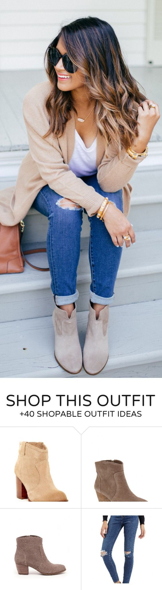 #spring #fashion / Camel Cardigan / White Tee / Ripped Skinny Jeans / Grey Suede Booties