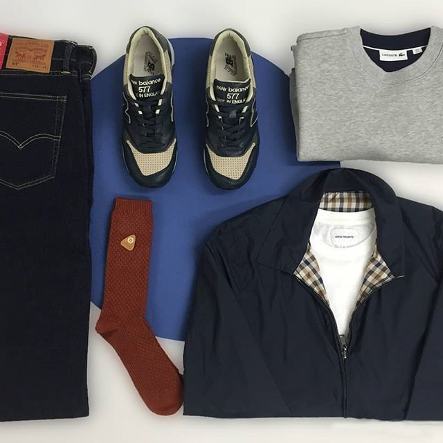 Tuesday's #aphroditeessentials features an @aquascutum jacket, a @norseprojects t-shirt, a @lacoste jumper, some @newbalance trainers, @folkclothing socks and a pair of @levis jeans. What do you think? #aphrodite1994 #aphroditeclothing #mensfashion #aw16 #newseason #flatlay #levis #newbalance #flatlay #flatlays #flatlayapp www.flat-lay.com