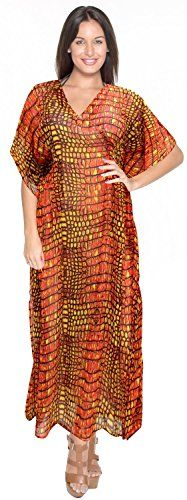 La Leela Sheer Chiffon Animal Skin Print Long Tube Caftan Kaftan Orange. Do YOU want KAFTAN in other colors Like Red ; Pink ; Orange ; Violet ; Purple ; Yellow ; Green ; Turquoise ; Blue ; Teal ; Black ; Grey ; White ; Maroon ; Brown ; Mustard ; Navy ,Please click on BRAND NAME LA LEELA above TITLE OR Search for �LA LEELA� in Search Bar of Amazon. STRETCHABLE Elastic gives YOU an ADJUSTABLE and COMFORTABLE Fit. US SIZE : From Regular 14 (L) TO Plus Size 18W (2X) UK SIZE : FROM REGULAR 14 (M)…