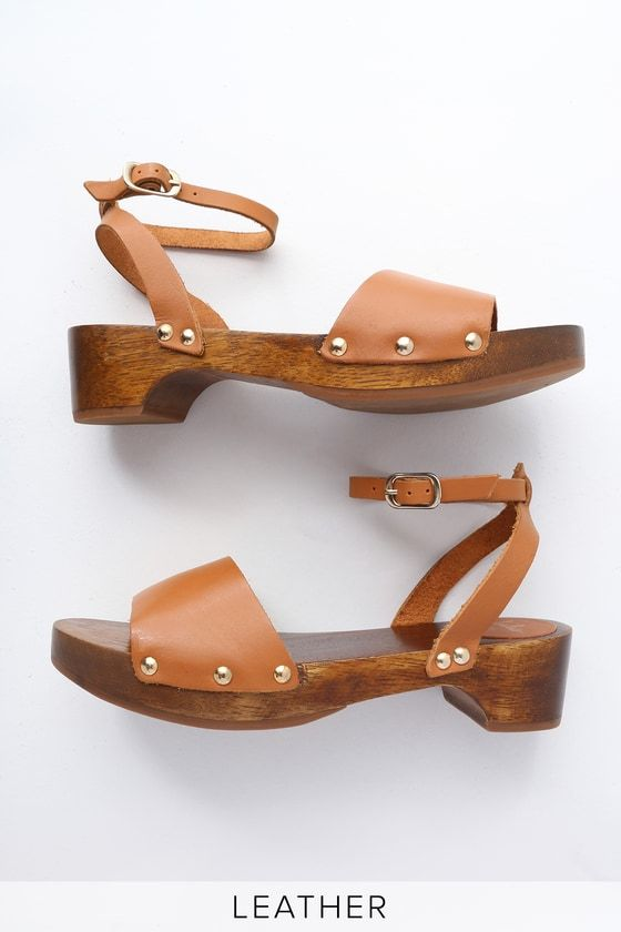 4fb96179 Lulus | Willy Cognac Leather Open-Toe Clog Sandal Heels | Size 10 ...