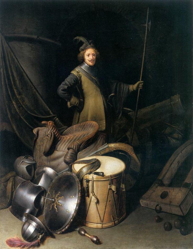 Στρατιώτης της πολιτειακής φρουράς του Λέιντεν με νεκρή φύση τον εξοπλισμό του (1630-35) Μουσείο Καλών Τεχνών Βουδαπέστης στην Ουγγαρία