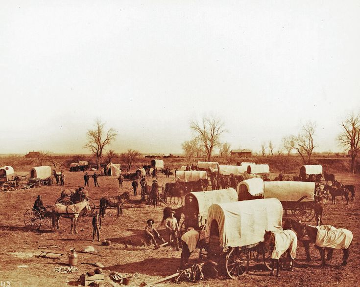 OLD WEST WAGON TRAIN COWBOYS PIONEERS SETTLERS VINTAGE PHOTO 1870
