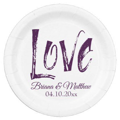 Purple Wedding Dinner Paper Dinner Plates Simple - kitchen gifts diy ideas decor special unique individual customized