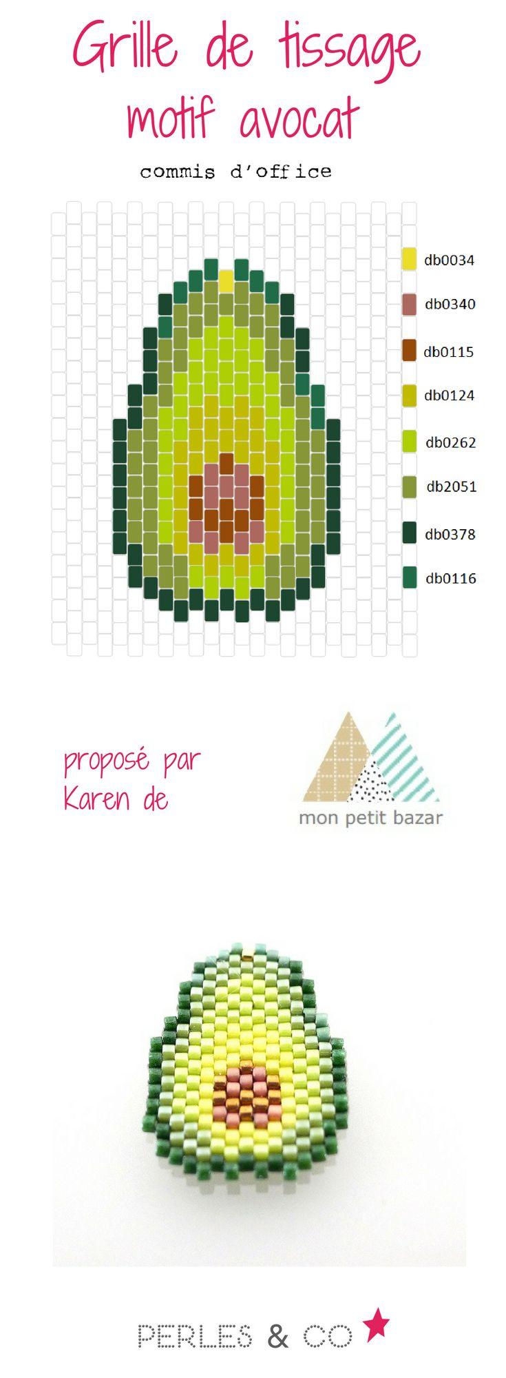 """Une salade d'avocats, ça vous dit ? Grâce à Karen du blog Mon petit bazar, voici un diagramme nommé """"commis d'office"""" pour réaliser un avocat en perles Miyuki Delicas 11/0 . Ce motif est réalisé avec la technique brickstitch Retouvez le tutoriel sur le site spécialisé en loisirs créatifs Perles & Co >> https://www.perlesandco.com/Diagramme_avocat_en_perles_Miyuki_Delicas_par_Mon_Petit_bazar-s-2774-47.html"""