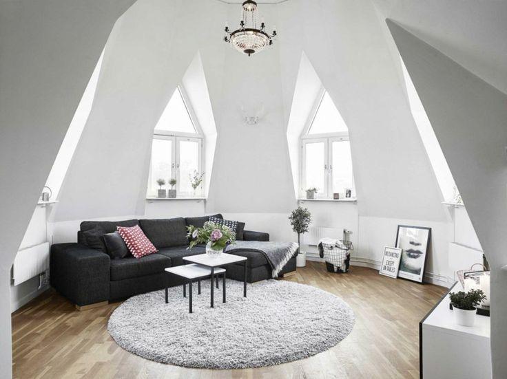 Wohnzimmer Dachzimmer skandinavisch Eichenholz Boden
