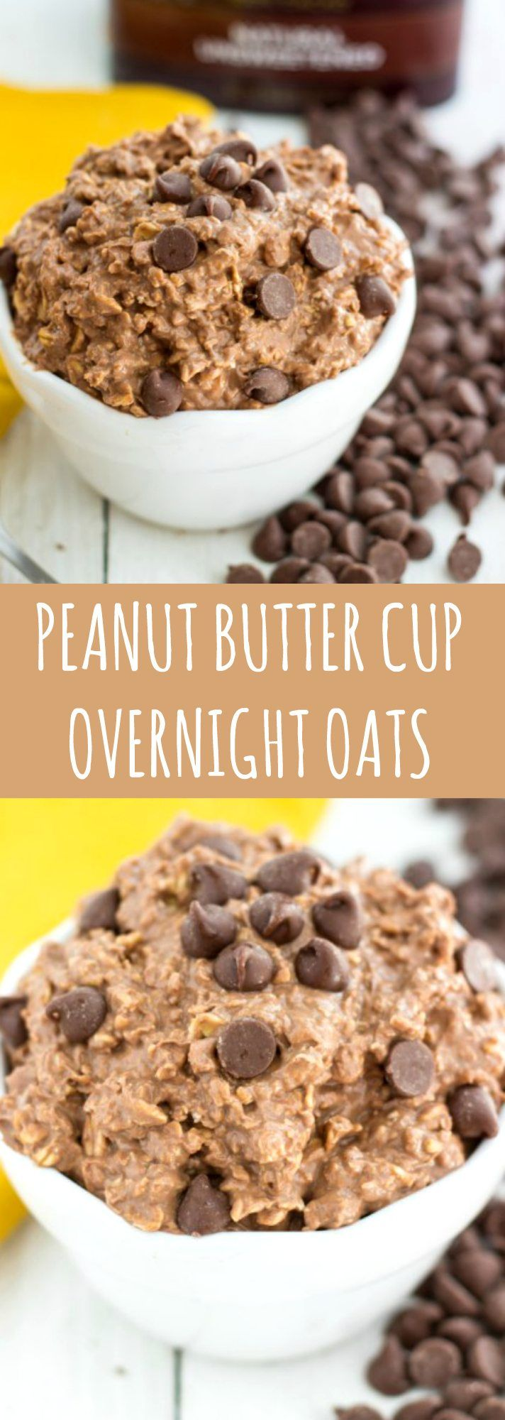Peanut butter cup overnight oats. Used 1/2 cup cashew milk instead of milk/yogurt combo and used chocolate protein powder instead of cocoa.