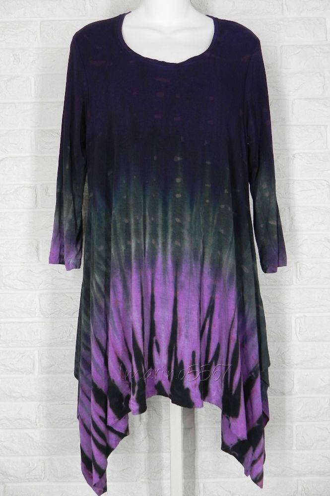 ART OF CLOTH Jersey Tie Dye Angle Hem Seabreeze Tunic African Violet NWT Large in Clothing, Shoes & Accessories, Women's Clothing, Tops & Blouses | eBay