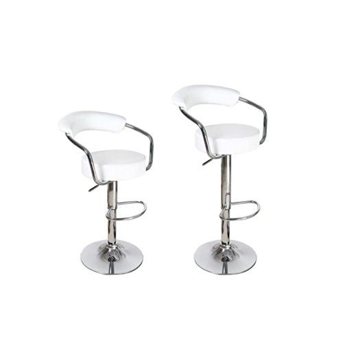 adeco white leatherette cushioned adjustable barstool chair curved back chrome arms pedestal base