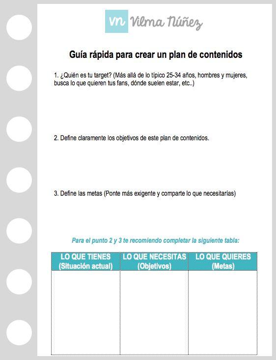 Plantilla para crear un plan de contenidos