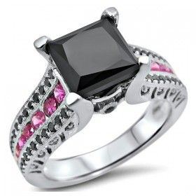 White Gold Plated 2.0 Carat Princess Cut Black Diamond Engagement Ring With Pink Sapphire