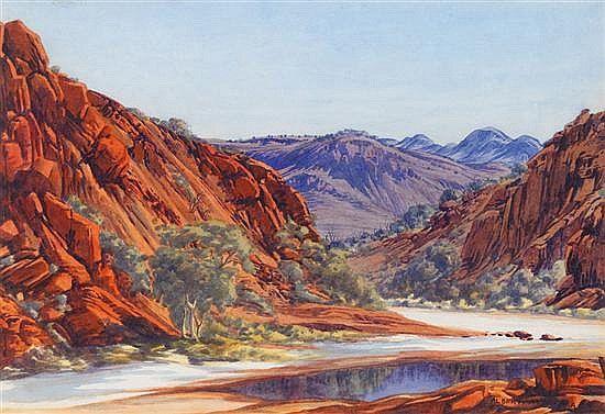 Glen Helen Gorge in West Macdonnell Ranges,  Central Australia, Northern Territory - Albert Namatjira 1902 - 1959 - Google Search