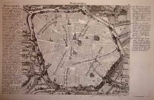 """GABRIEL BODENEHR (1634 - 1727)  """"Bologna""""  Dall'opera: La gloria e la forza dell'Europa o le più importanti fortezze, Augsburg, 1725"""