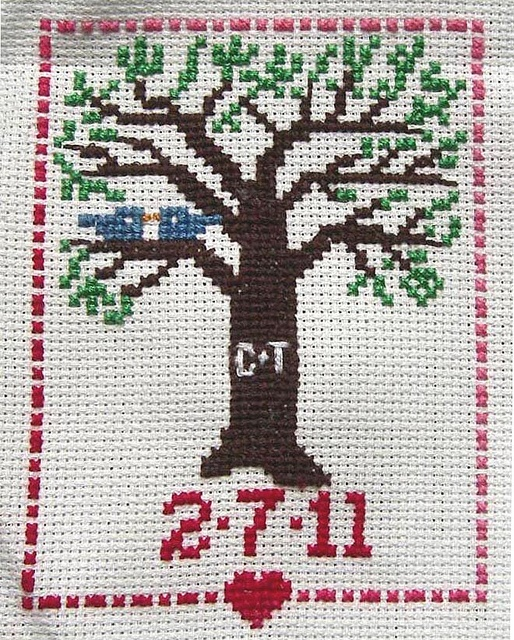 cross stitch design for our wedding invitations