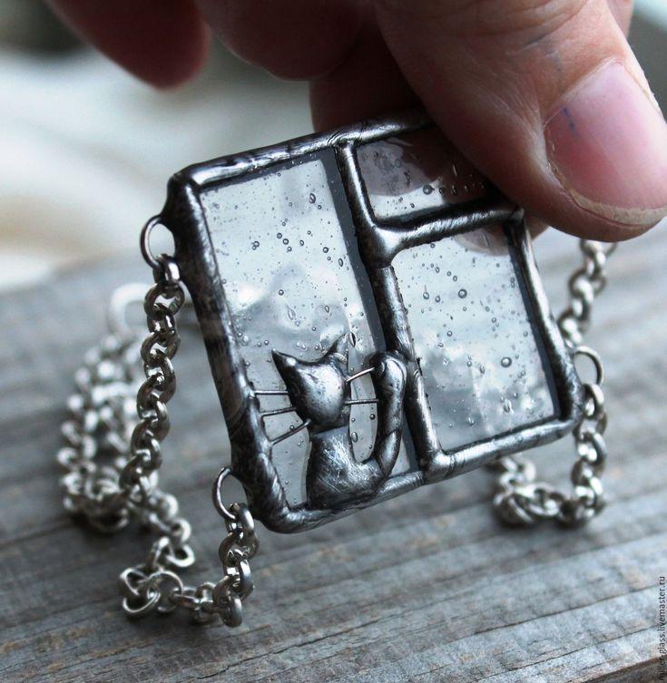 """Купить Браслетик """"С кошкой"""" стекло - серебряный, браслет, браслет со стеклом, стекло"""