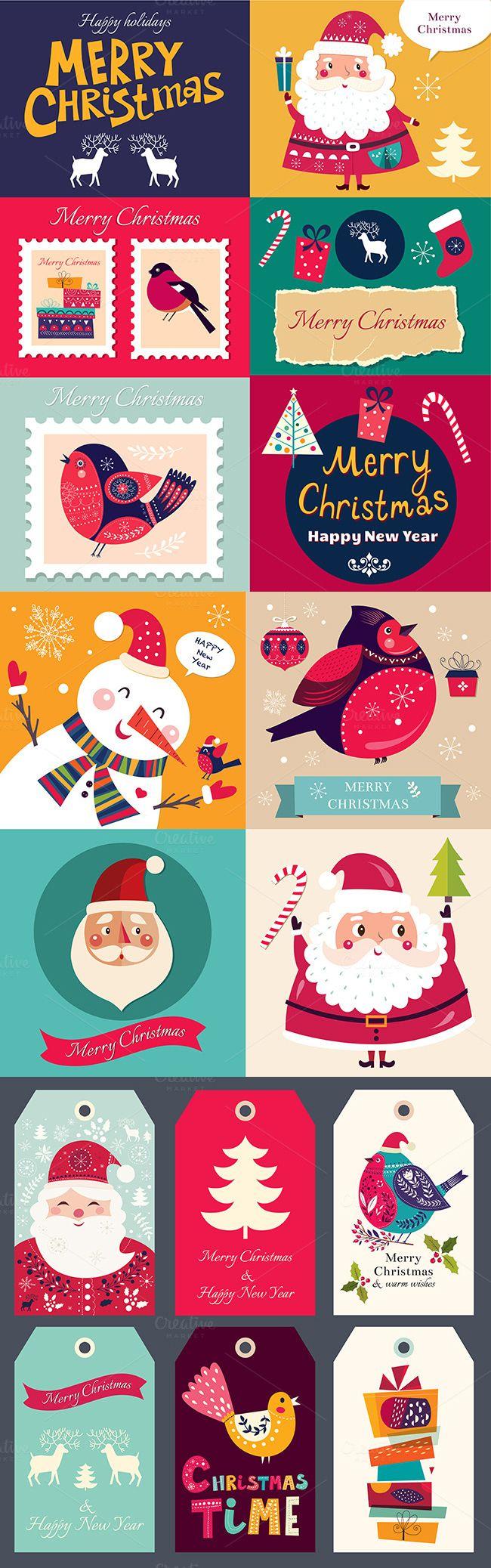 Christmas badges and cards Vector Template EPS, AI Illustrator #design Download: https://creativemarket.com/MoleskoStudio/425862-Christmas-badges-and-cards?u=ksioks