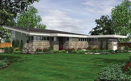Plan 69401AM Long Low California Ranch House Plans Modern Ranch And