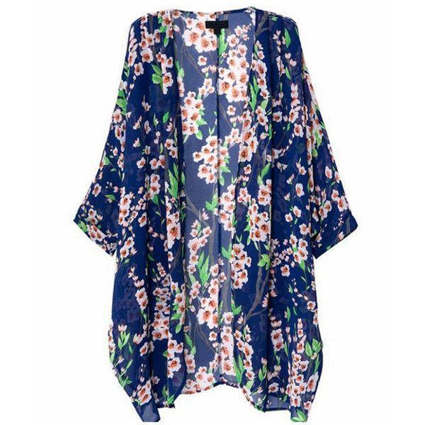 Women's Floral Print Sheer Chiffon Loose Kimono Cardigan Capes - S (180 MXN) ❤ liked on Polyvore featuring tops, cardigans, floral kimono, blue floral kimono, kimono top, floral print kimono and loose tops