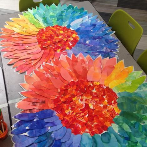"""Undeniably Gorgeous Collaborative Flowers - Great """"End of the Year Art Project""""  - done with 2nd grade but could do with ANY grade!"""